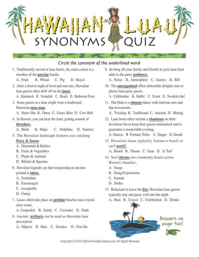 Hawaiian Luau Party: Synonyms Quiz