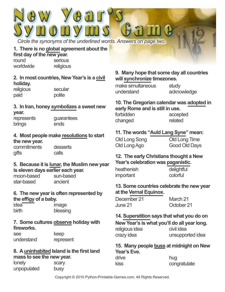 New Year's Eve: Synonyms Worksheet