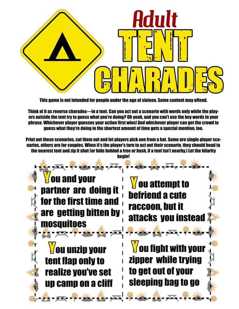 Camping Games Tent Charades For Adults