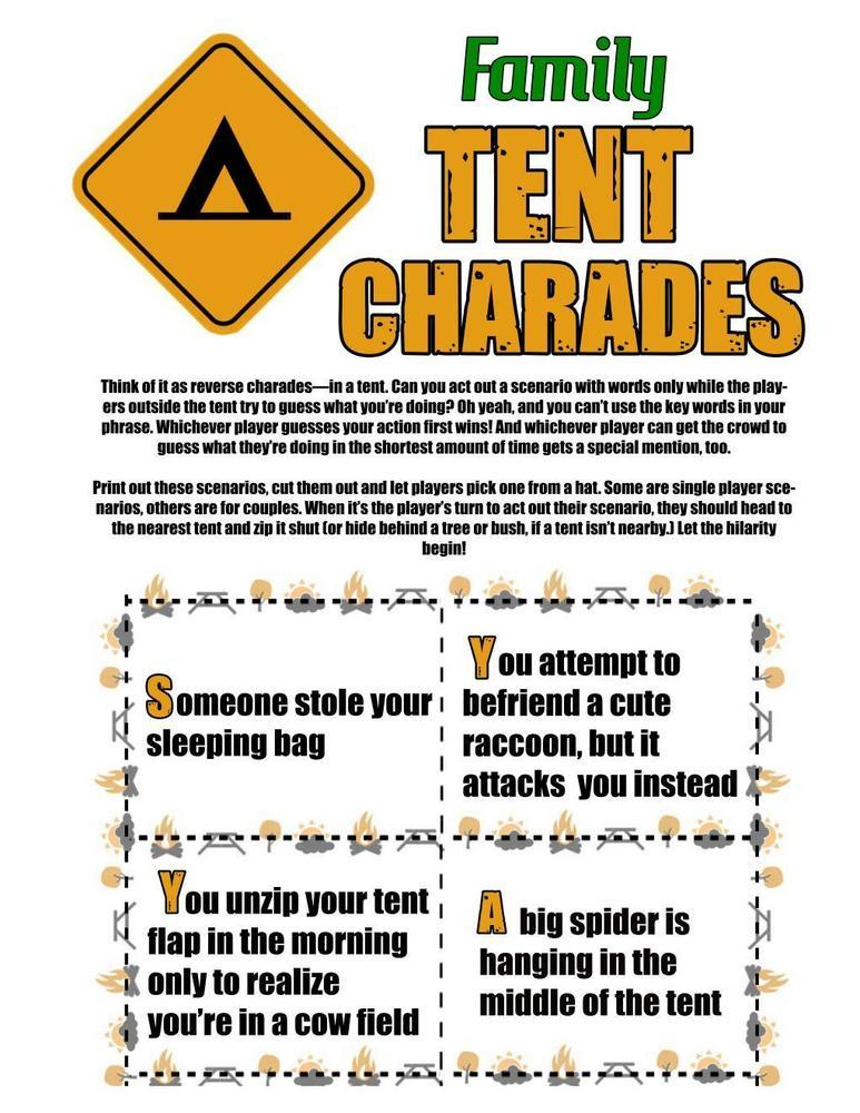 Camping Games: Tent Charades For All