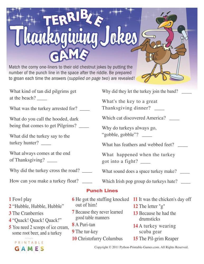 Thanksgiving: Terrible Jokes Game