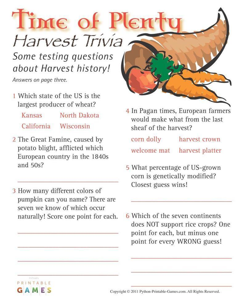 Fall Harvest: Time of Plenty Harvest Trivia