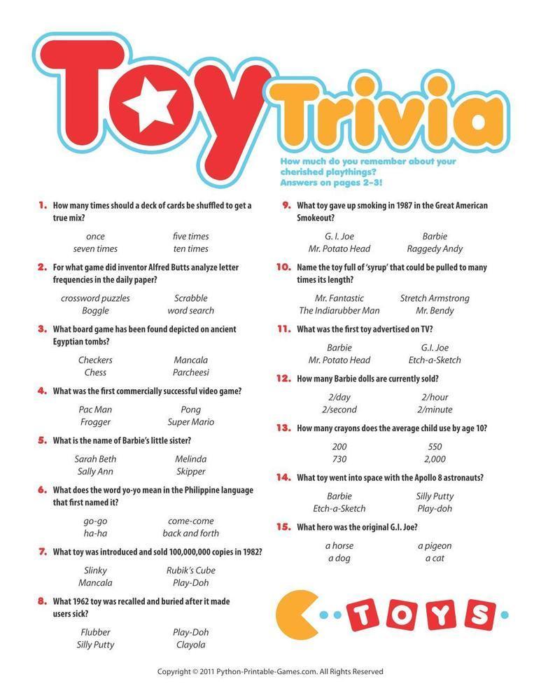 Pop Culture Games: Toy Trivia