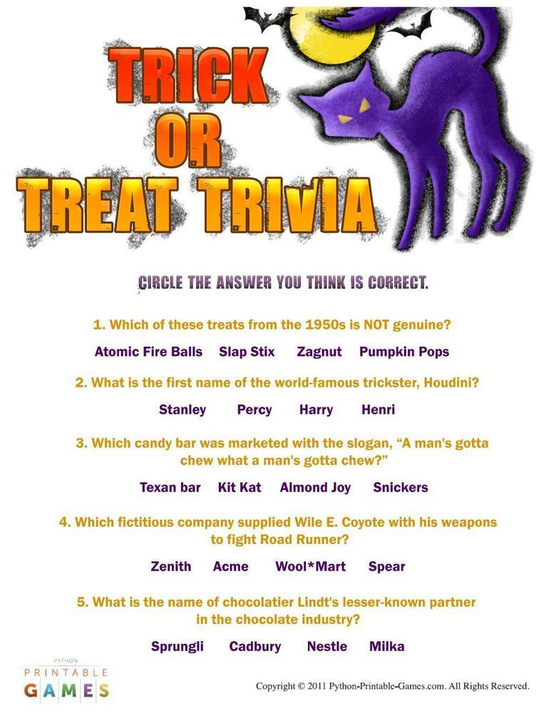 Halloween: Trick or Treat Trivia game