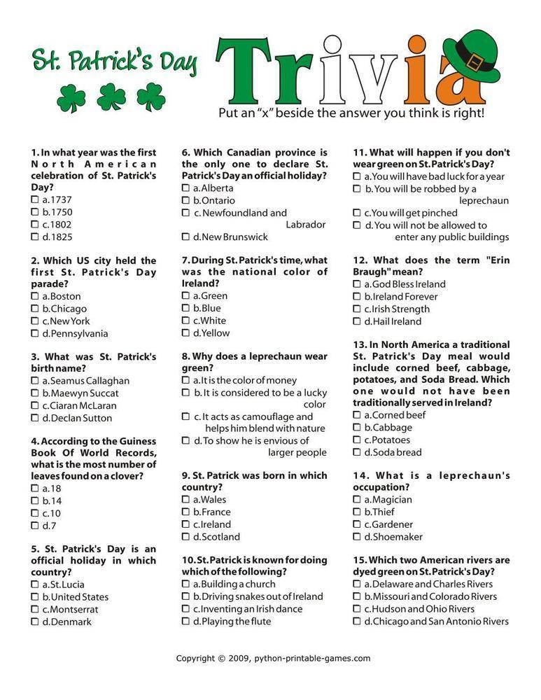 St Patrick's Day: Trivia