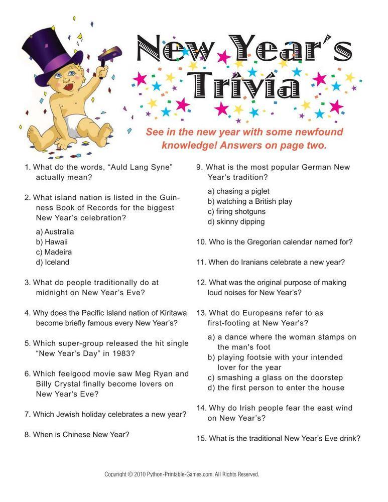 New Year's Eve: Trivia Game