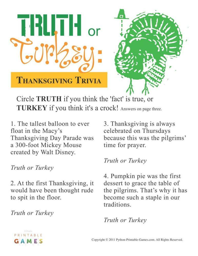 Thanksgiving: Truth or Turkey? Trivia
