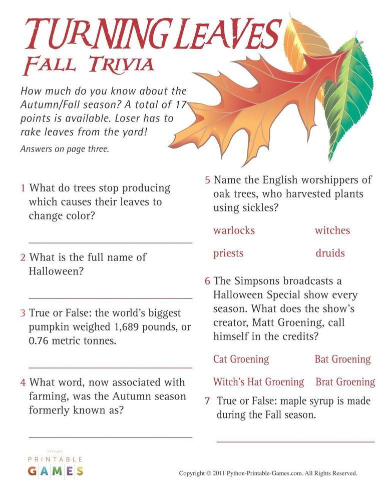 Fall Harvest: Turning Leaves Fall Trivia