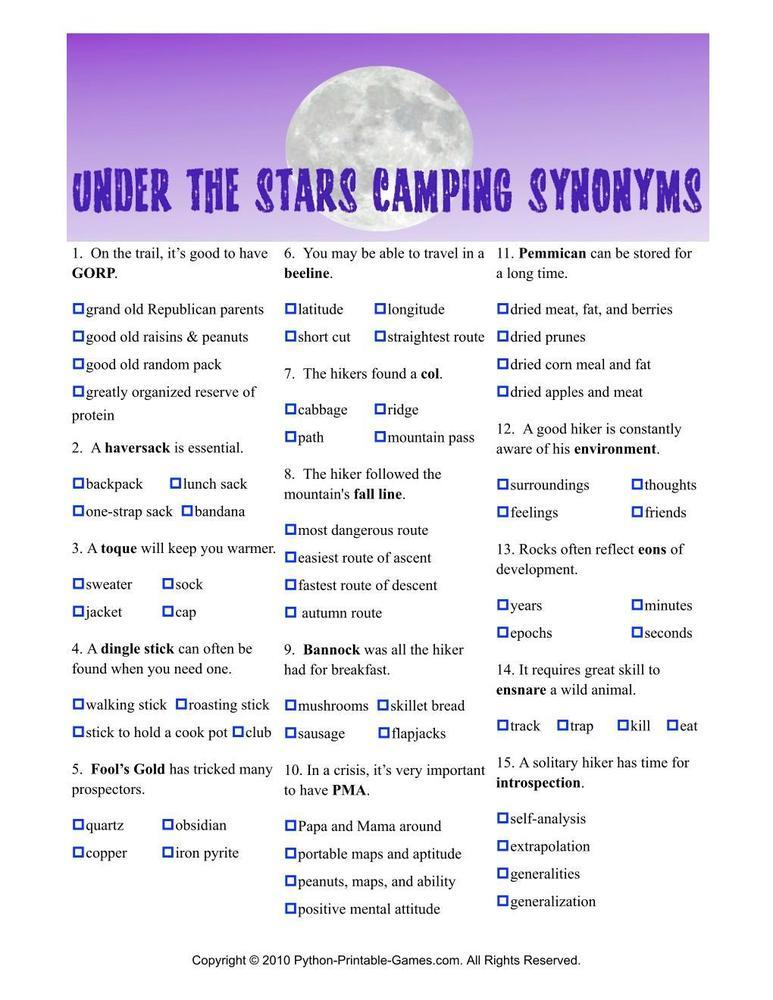 Camping Games: Under The Stars Synonyms