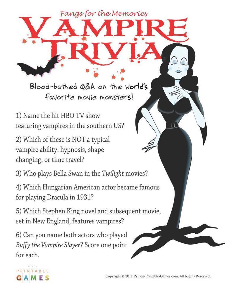 Pop Culture Games: Vampire Trivia