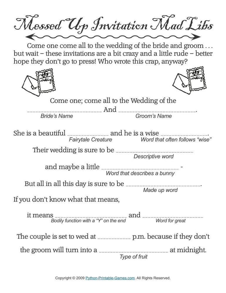 Wedding: Wedding Messed Up Invitations MadLibs