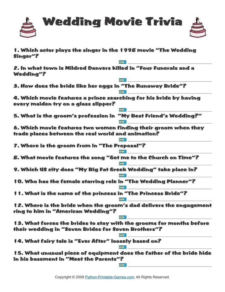 Trivia Questions For Wedding Reception 28 Images 17 Best Ideas