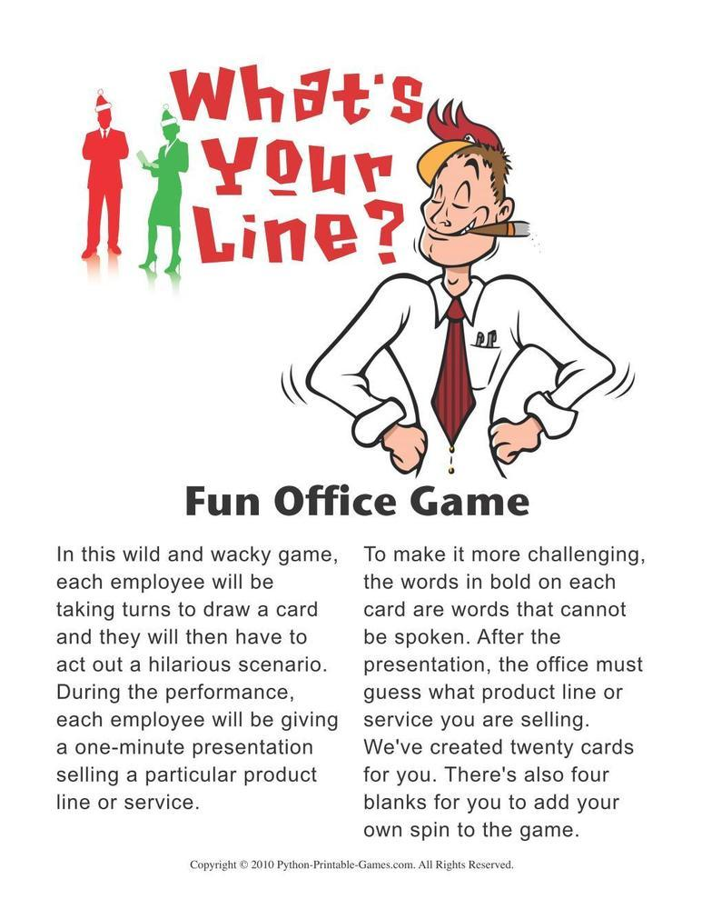 games for the office whats your line office party acting game - Office Christmas Games