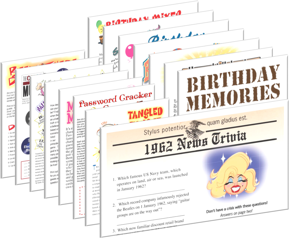 1962 Birthday pack + FREE Party Games