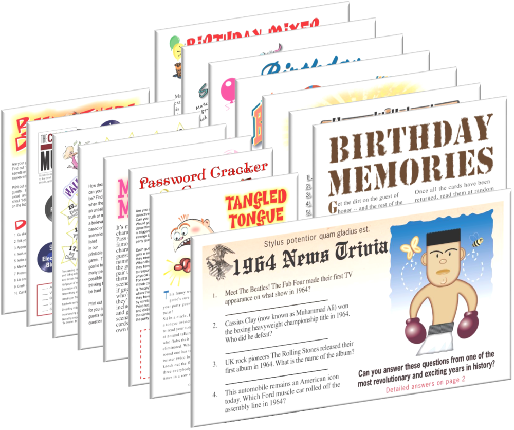 1964 Birthday pack + FREE Party Games