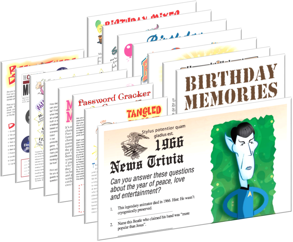 1966 Birthday pack + FREE Party Games