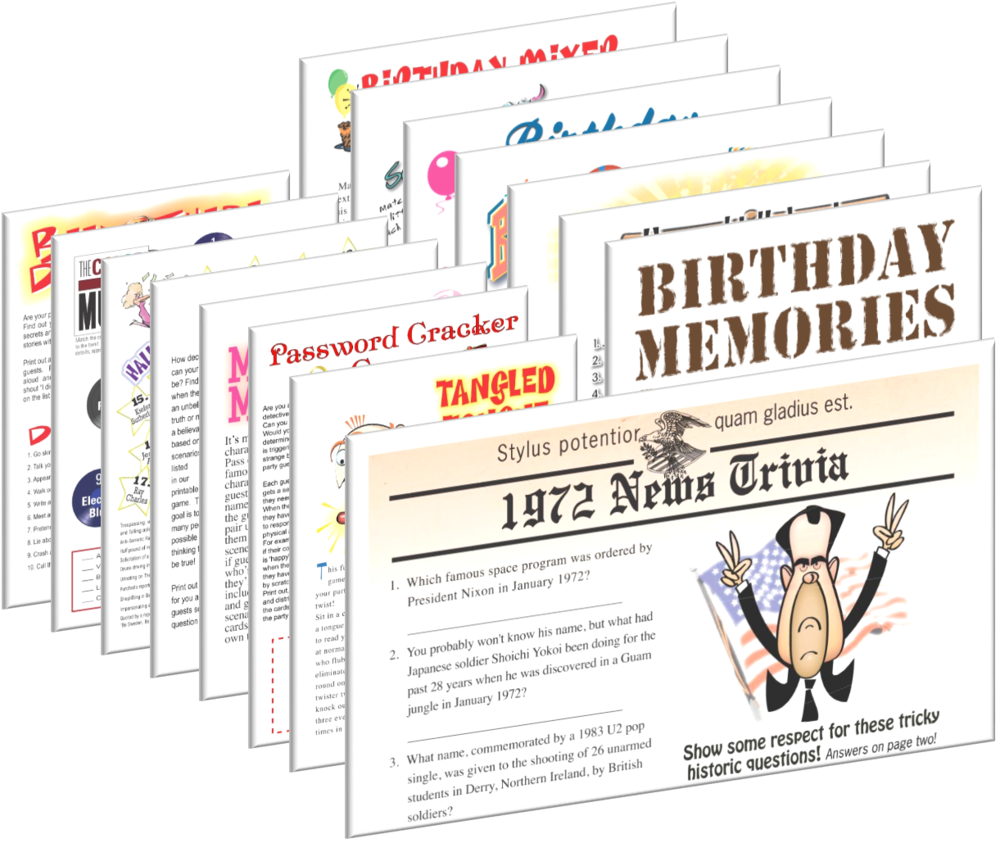 1972 Birthday pack + FREE Party Games