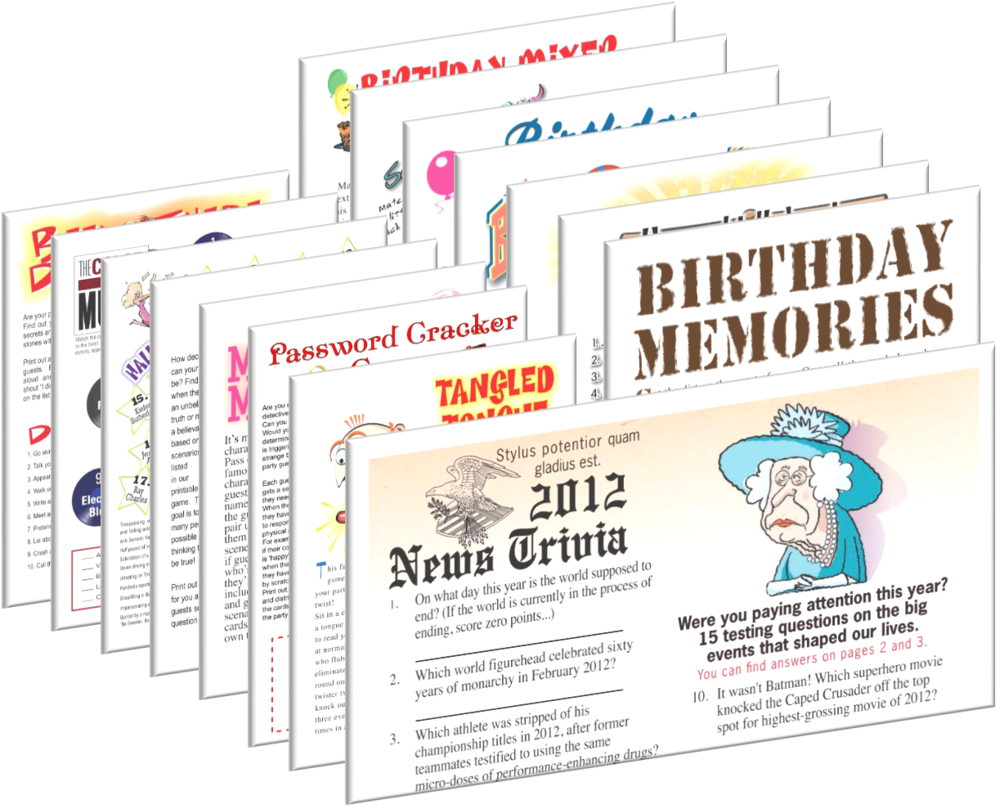 2012 Birthday pack + FREE Party Games