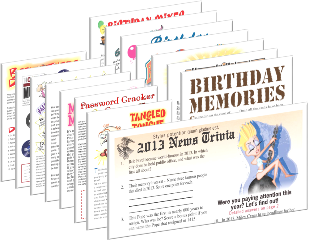 2013 Birthday pack + FREE Party Games