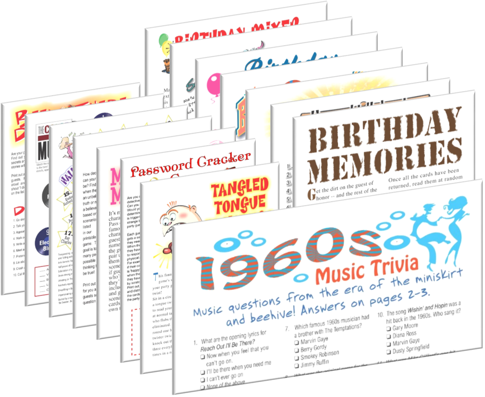 1960 Birthday pack + FREE Party Games