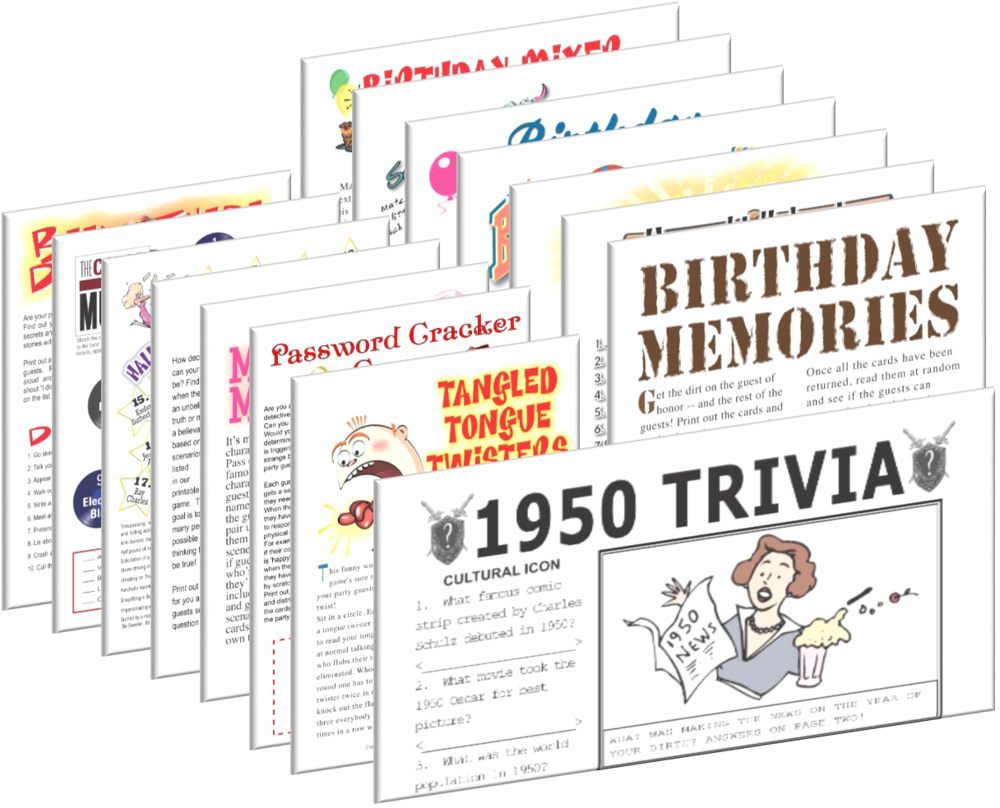 1950 Birthday Pack + Free Party Games