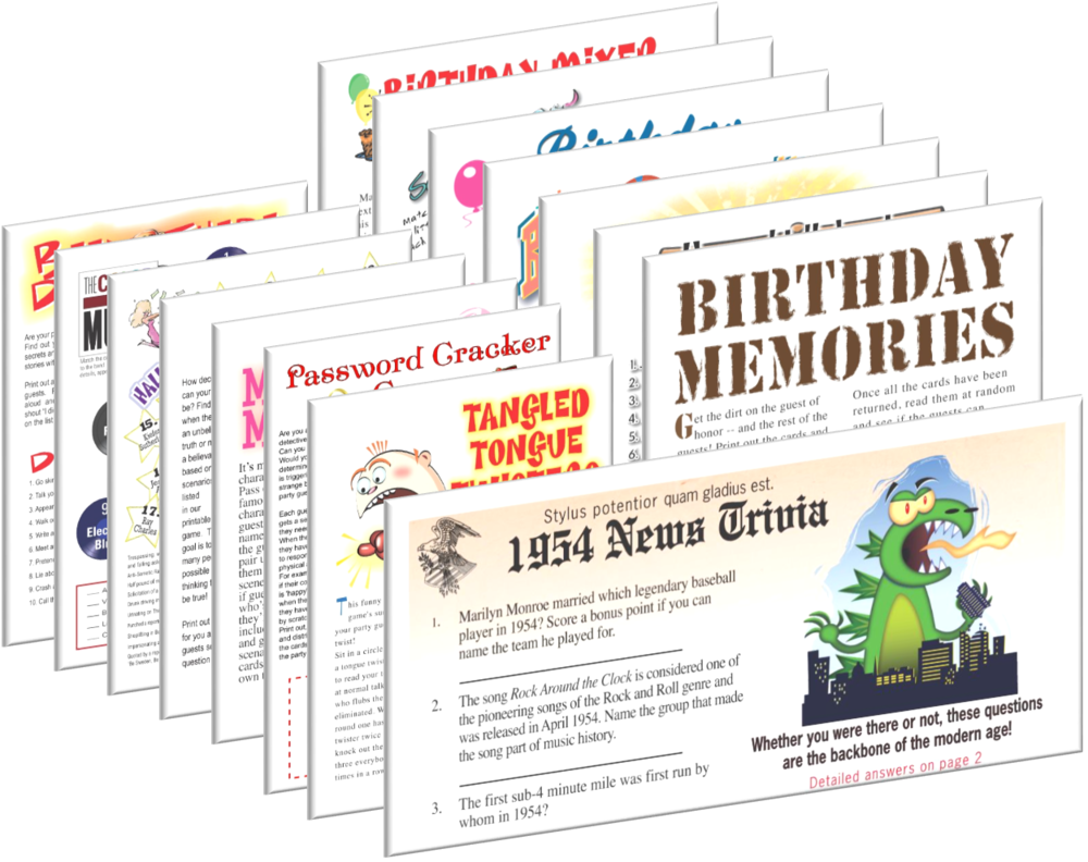 1954 Birthday pack + FREE Party Games