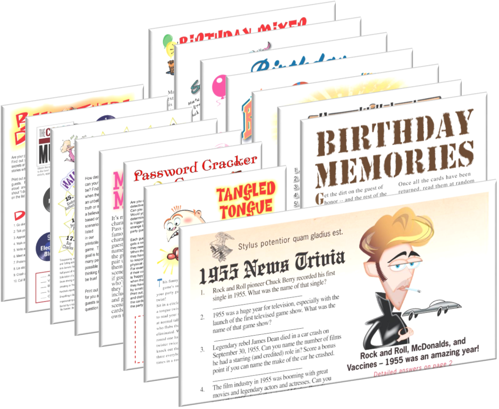 1955 Birthday pack + FREE Party Games