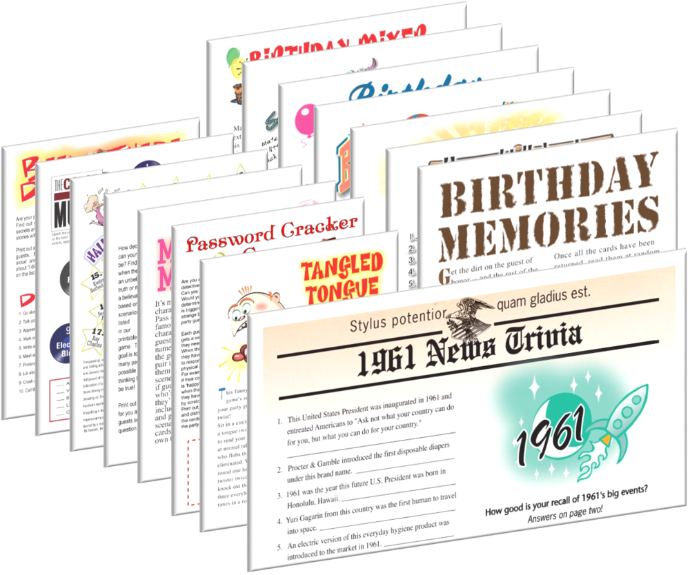 1961 Birthday pack + FREE Party Games