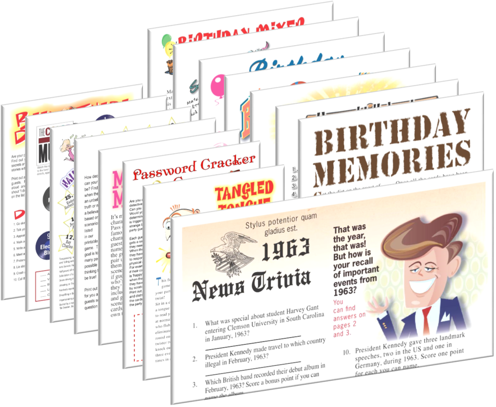 1963 Birthday pack + FREE Party Games
