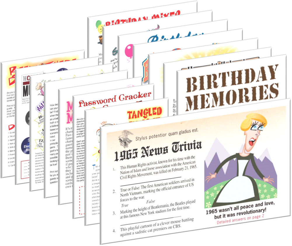1965 Birthday pack + FREE Party Games