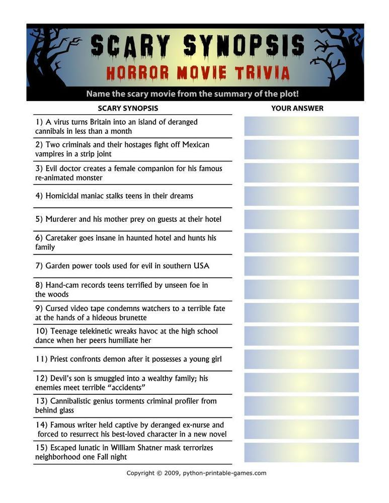 Pop Culture Games: Scary Synopsis Horror Movie Trivia