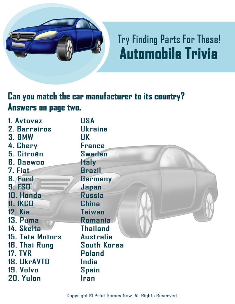 Automobile Trivia