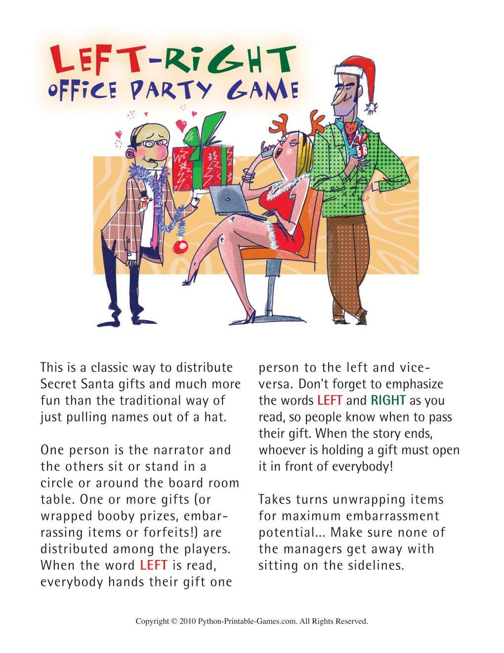 image relating to Free Printable Left Right Christmas Game called All Video games for the office environment + Free of charge Occasion Online games No assessments nonetheless
