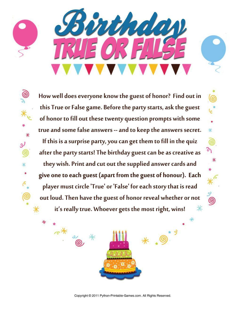 1964 Birthday Pack Free Party Games