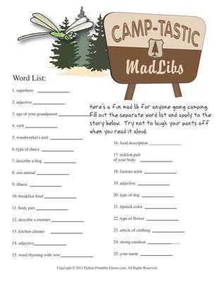 Camping Games Camp Tastic Mad Libs