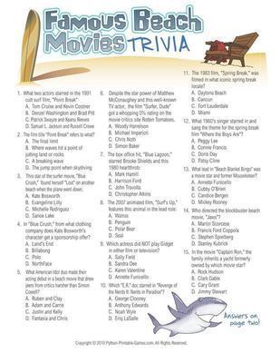 Beach Games Famous Beach Movies Trivia