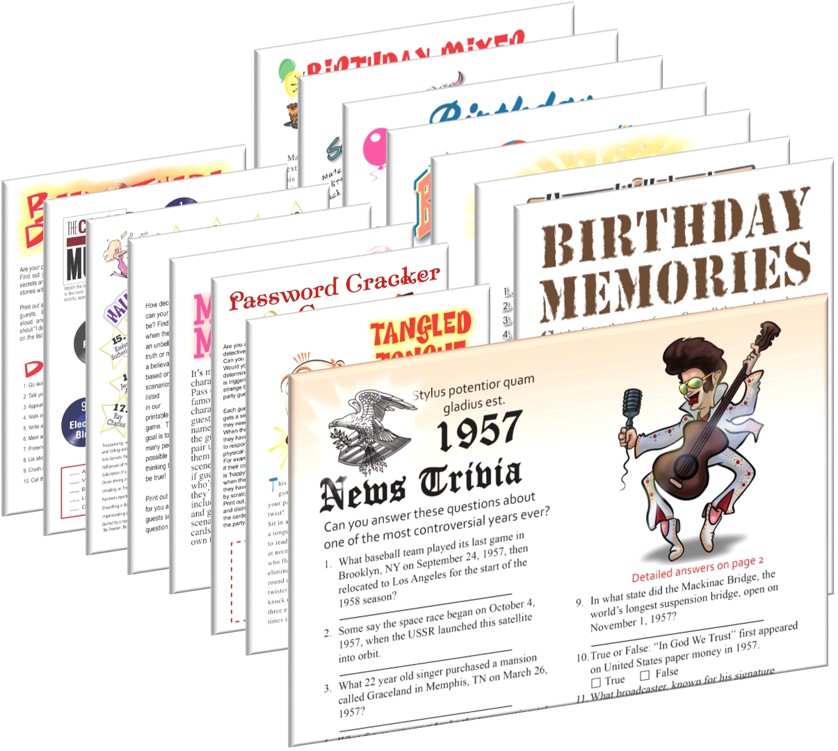 1957 Birthday pack + FREE Party Games
