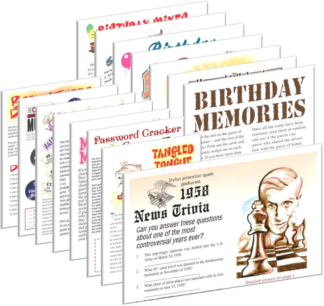 1958 Birthday pack (SPECIAL 60th birthday)  + FREE Party Games