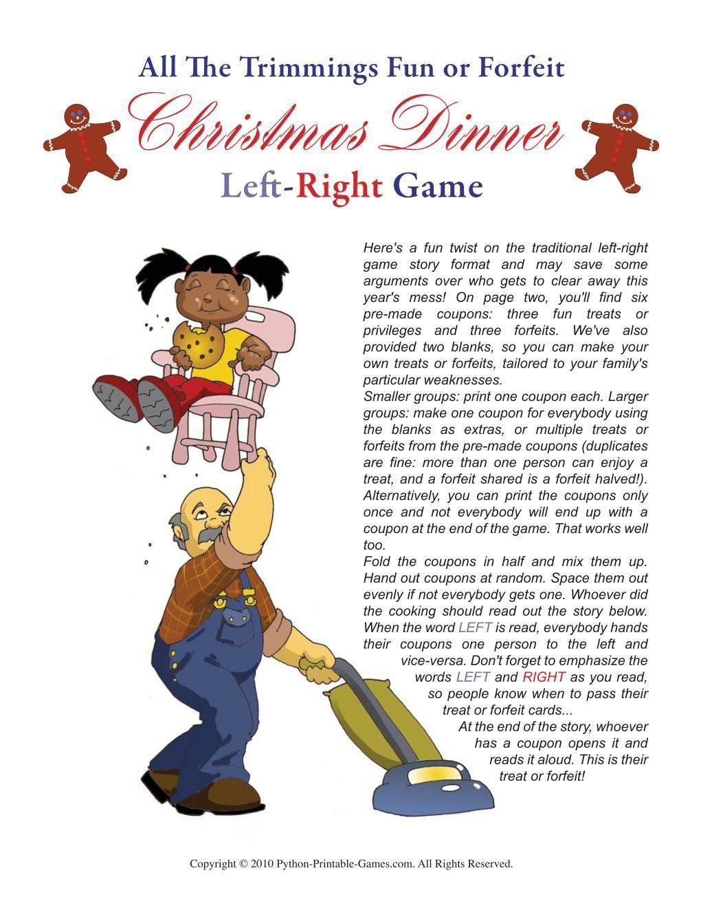 image about Left Right Christmas Game Printable named Xmas: Xmas Meal Remaining Directly Sport