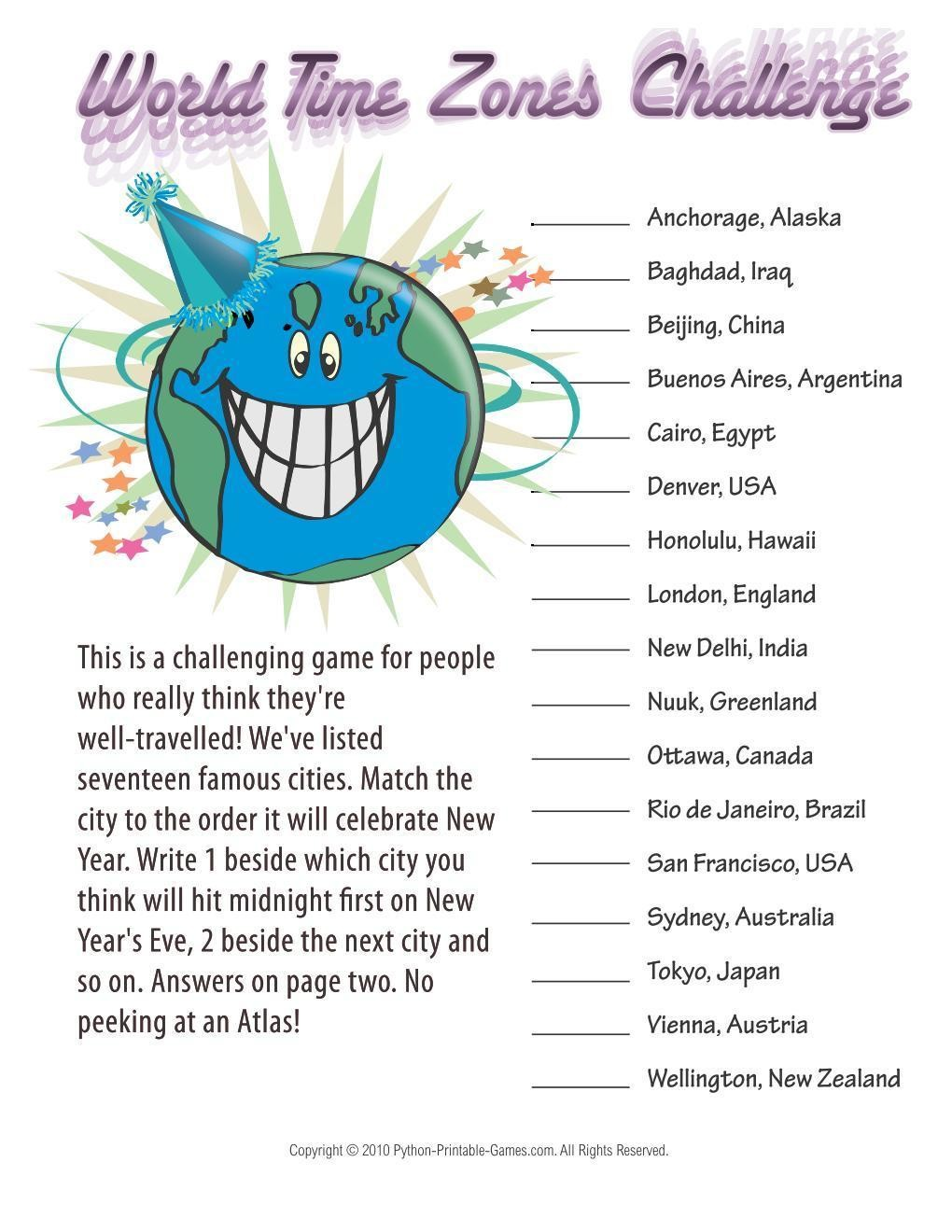 New Year's Eve: World Time Zones Challenge