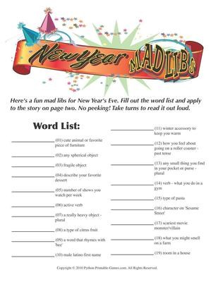 New Year's Eve: Mad Libs