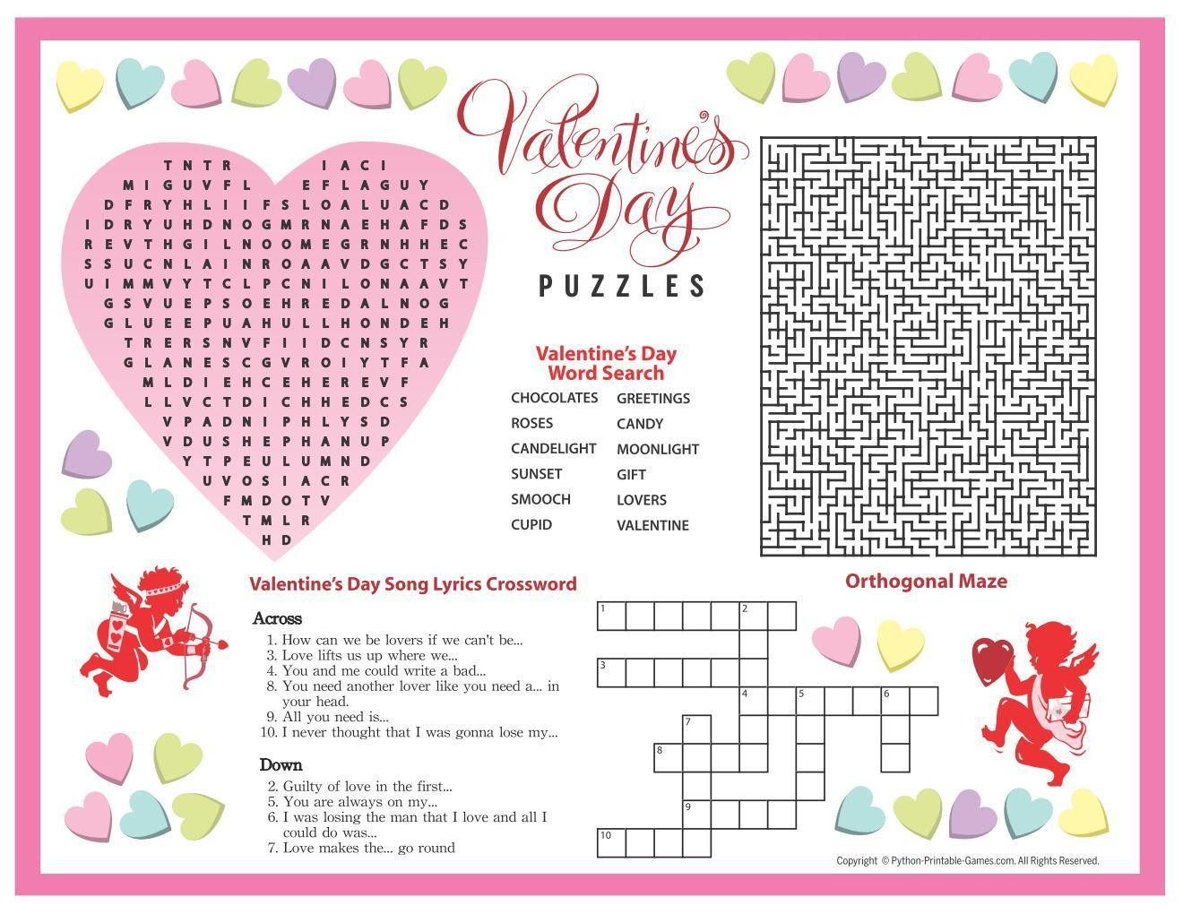 photograph regarding Valentine's Day Crossword Puzzle Printable named Valentines Working day: Puzzles