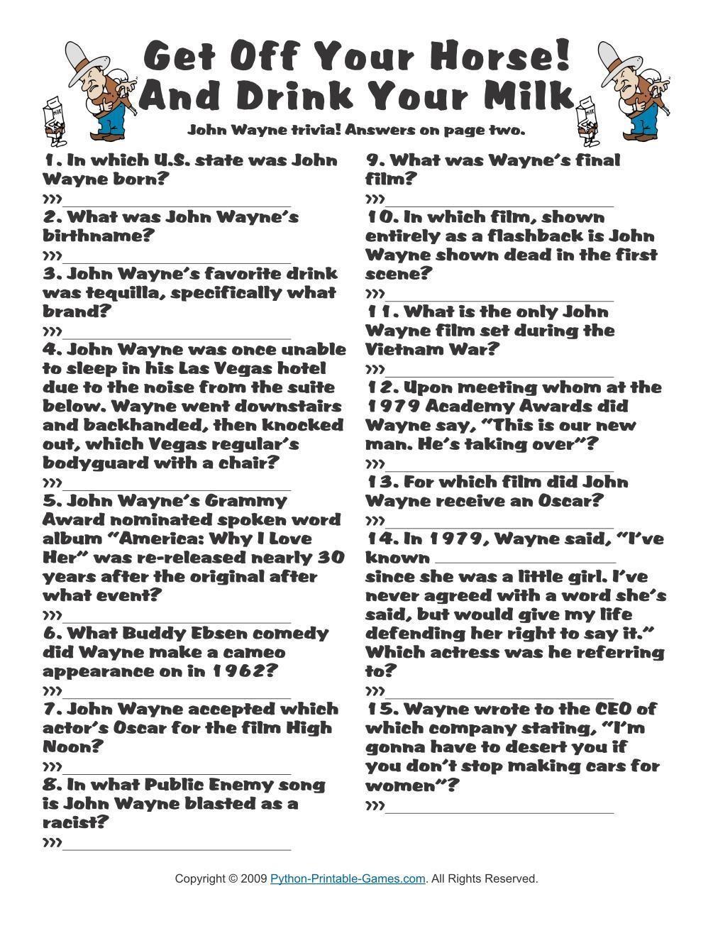 Pop Culture Games: John Wayne Trivia