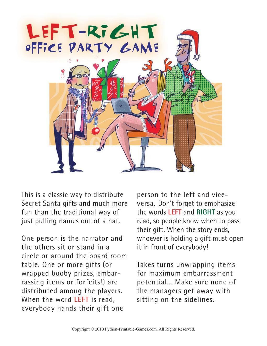 graphic relating to Left Right Christmas Game Printable called Video games for the Workplace: Business office Xmas Still left-Immediately Xmas Social gathering