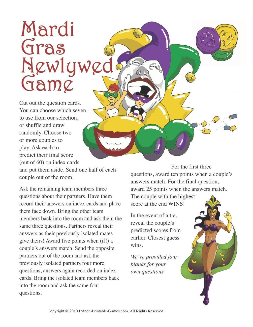 Mardi Gras: Newlywed Game Questions