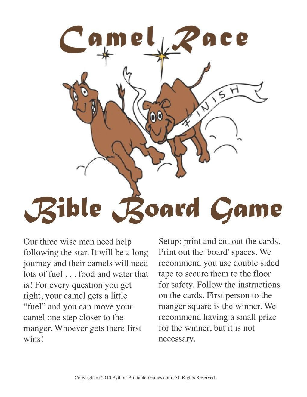 Christmas Bible Trivia.Christmas Camel Race Bible Trivia Board Game