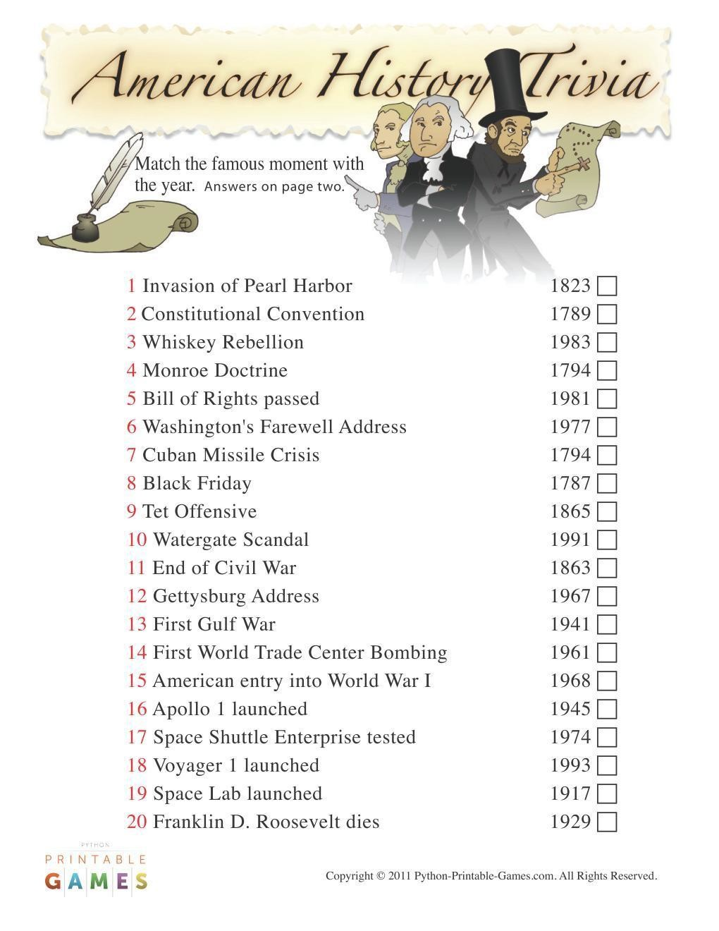 picture relating to American History Trivia Questions and Answers Printable titled American Game titles: American Record Trivia