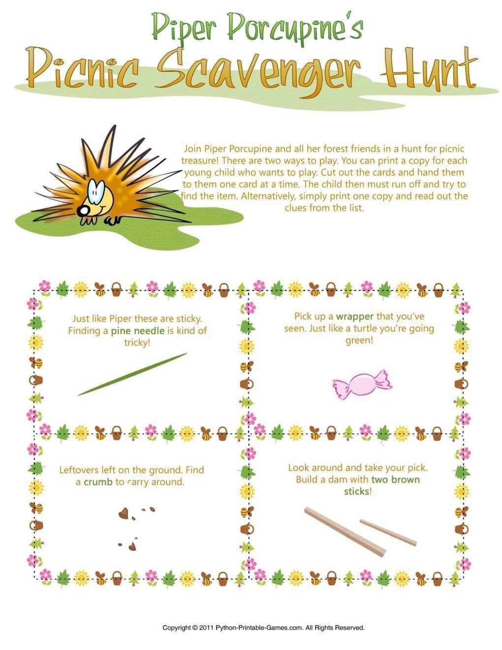 Picnic Games: Piper Porcupine's Scavenger Hunt