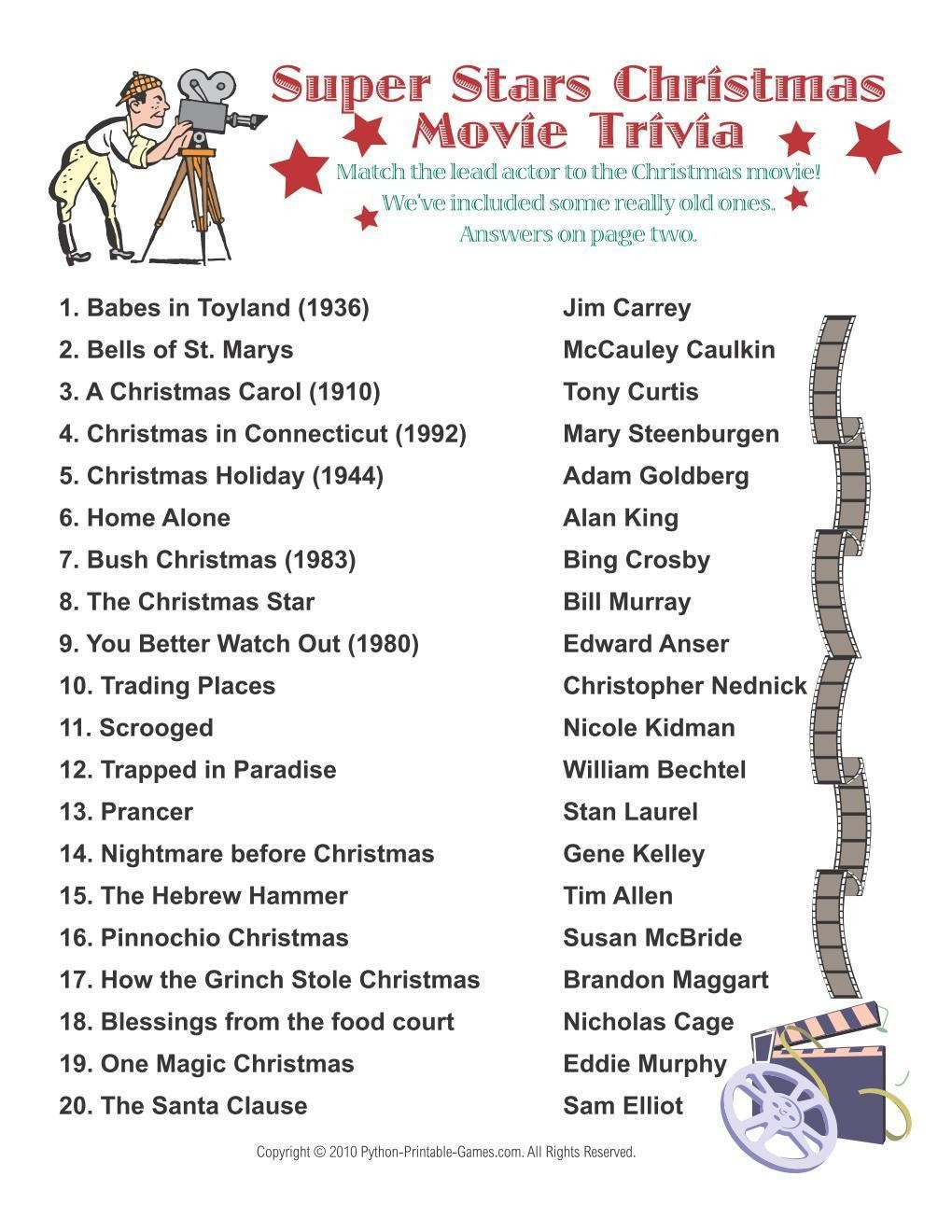photo relating to Christmas Movie Trivia Printable known as Xmas: Tremendous Celebs Flicks Trivia