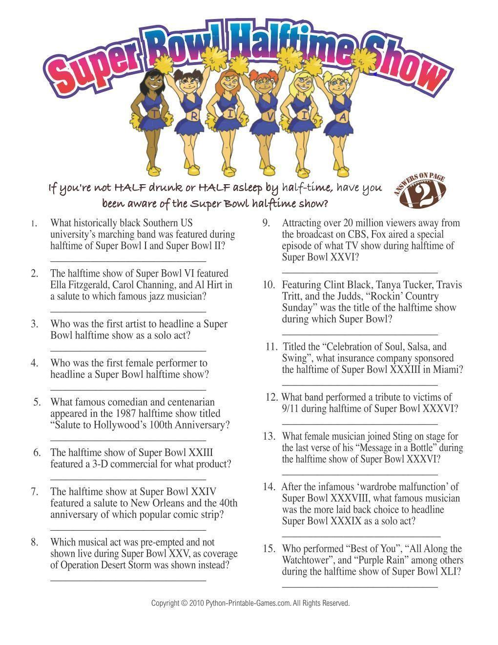 Super Bowl: Halftime Show Trivia